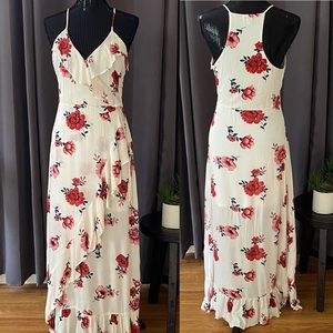 Love, Fire floral, ruffled, surplice dress